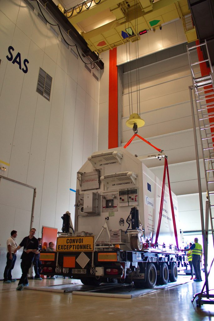Sentinel-2B inside airlock at Europe's spaceport. (ESA)