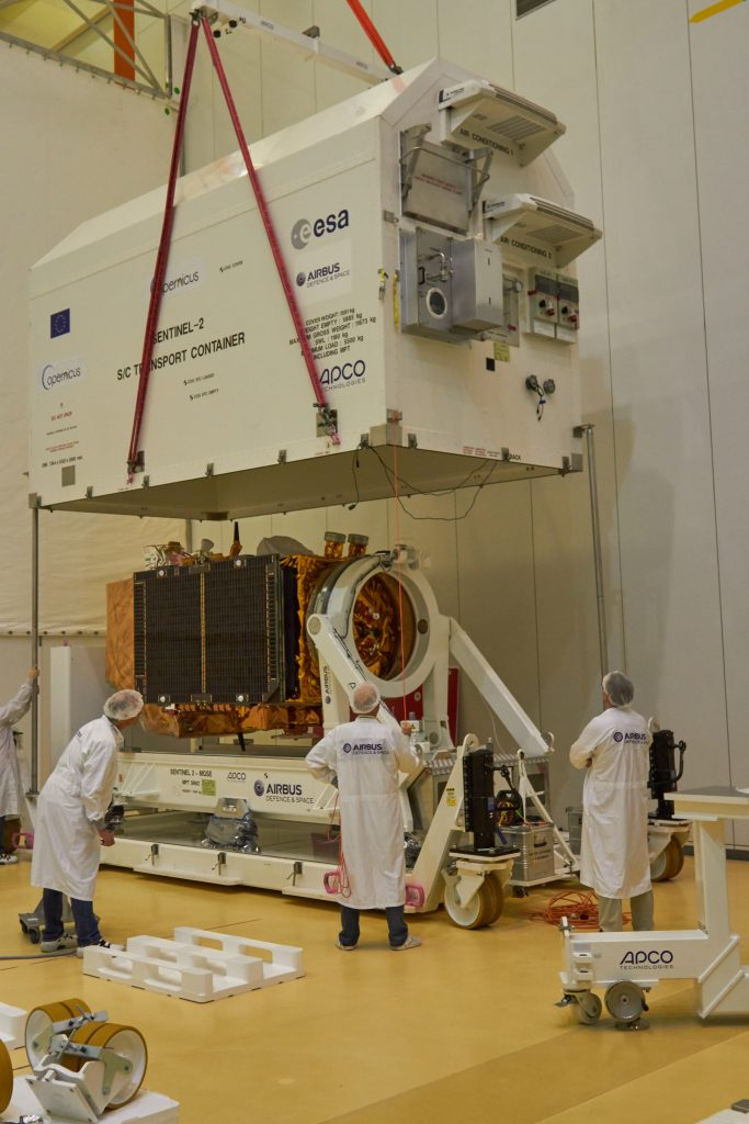 Opening the Sentinel-2B transport container. (ESA)