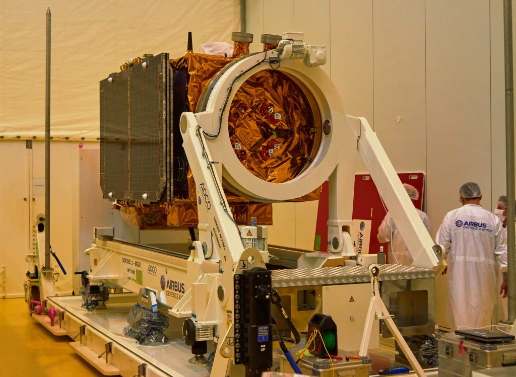 Sentinel-2B positioned on trolley. (ESA)