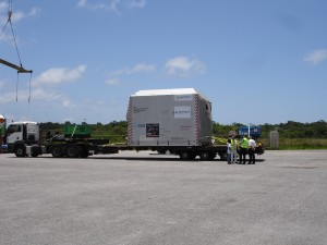 Arrival of the spacecraft at Europe's spaceport in Kourou CSG (Centre Spatial Guyanais)