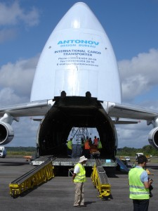 After offloading the Gaia spacecraft, the Antonov is empty
