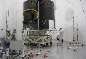 Gaia Flight Model spacecraft being prepared for acoustic testing. Credit: Astrium SAS