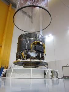 Gaia Flight Model spacecraft being prepared for leak testing. Credit: Astrium SAS