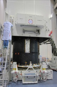 Gaia spacecraft at Astrium, packed in its high-tech case. Credit: Astrium SAS