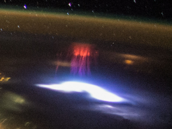 A red sprite captured on camera from the Space Station on August 10 over southern Mexico. Credit: NASA
