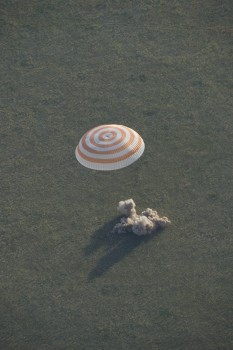 Landing of Soyuz TMA-15M with ESA astronaut Samantha Cristoforetti, NASA astronaut Terry Virts and Russian commander Anton Shkaplerov on 11 June 2015. Credits: ESA–S. Corvaja