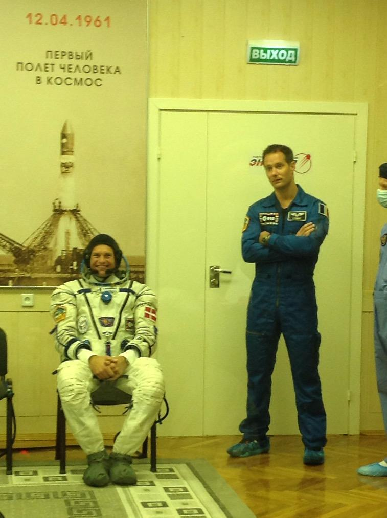 Testing Sokol suit for leaks. Standing to the right is Andreas's backup ESA astronaut Thomas Pesquet. Credits: ESA
