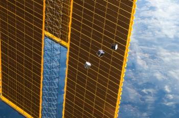 CubeSats leaving International Space Station. Credits: NASA