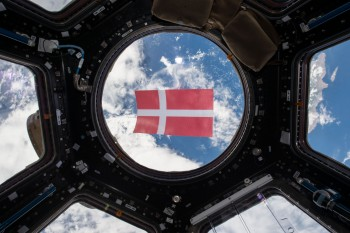 Danish flag in space. Credits: ESA/NASA