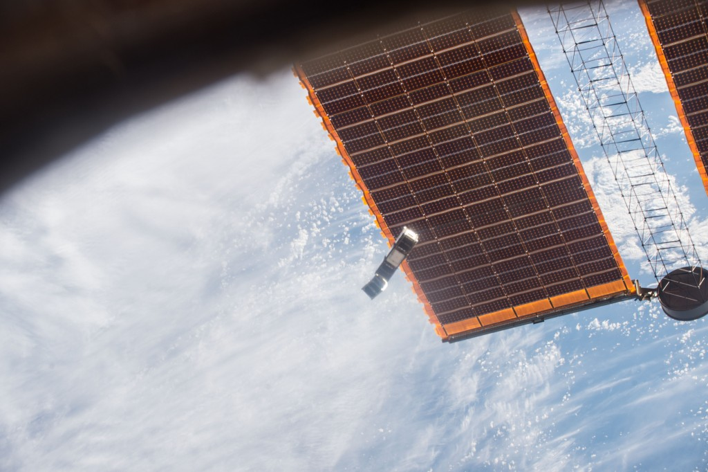 AAUSAT5 and GomX-3 leaving International Space Station. Credits: NASA