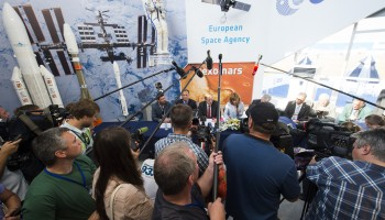 Media Briefing of Jan Woerner, ESA Director General, and Igor Komarov, Head of the Russian Federal Space Agency (Roscosmos), on 26 August 2015, at the ESA chalet, MAKS international aviation and space show, in Zhukovsky near Moscow. Image Credit: ESA/S. Corvaja, 2015