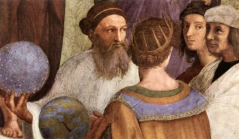 "Zarathustra (left) as depicted in ""The School of Athens"", one of the most famous frescoes by the Italian Renaissance artist Raphael"
