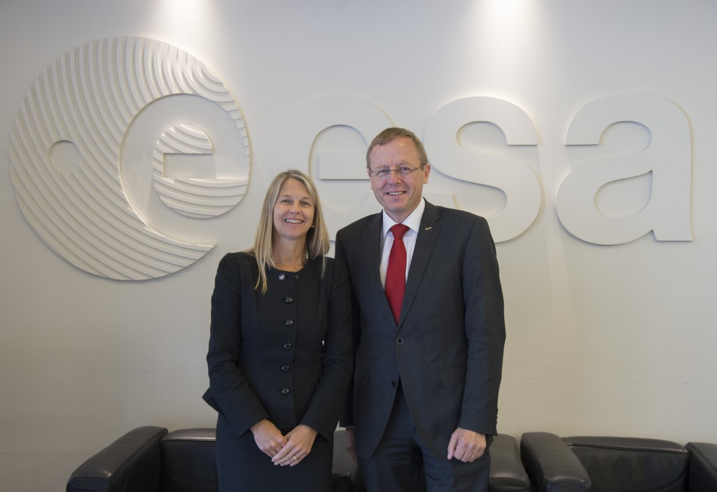 ESA DG Johann Woerner and NASA MS Newman