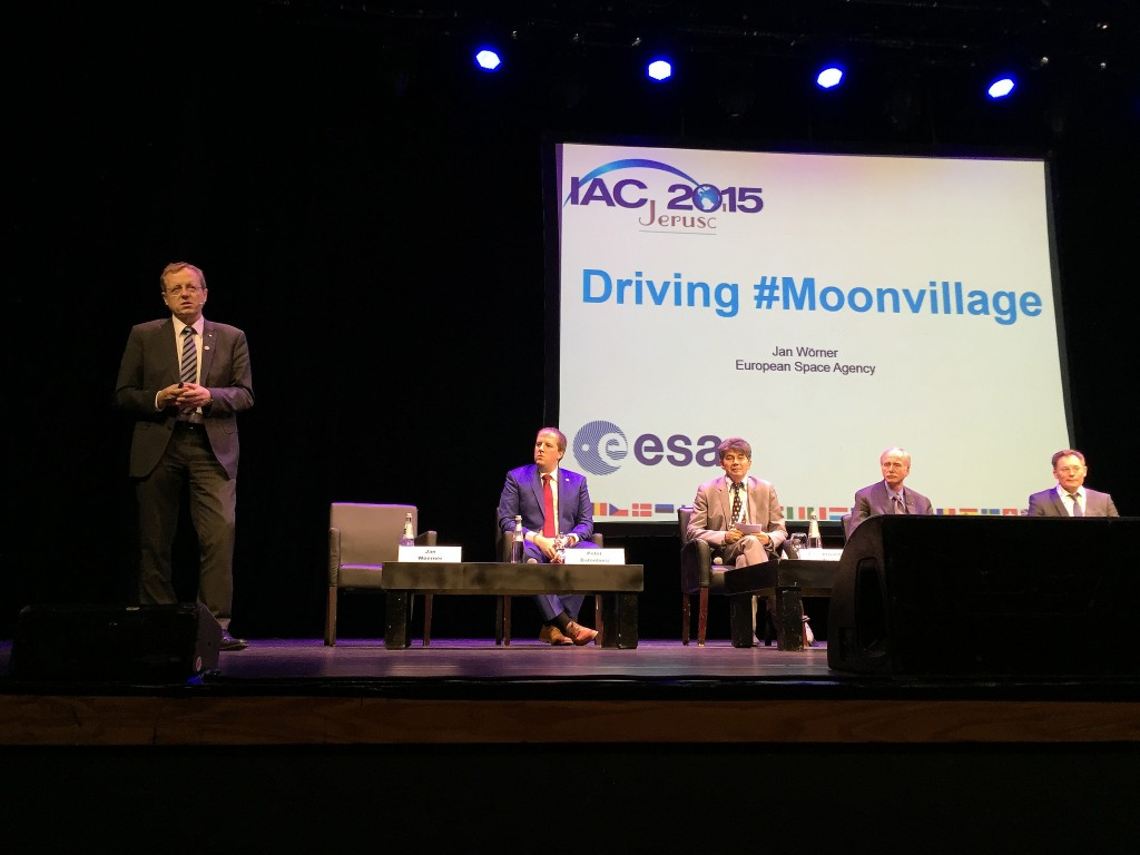 """The Moon – a continent and a gateway for our future"" - a snapshot from ‪#‎IAC2015‬ Plenary 7. Credit: ESA, C. Diener, CC BY-SA IGO 3.0"