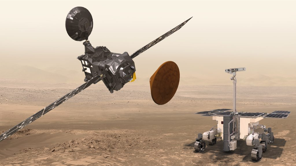 ExoMars Trace Gas Orbiter (TGO), Schiaparelli EDM and Rover. Credit: ESA.