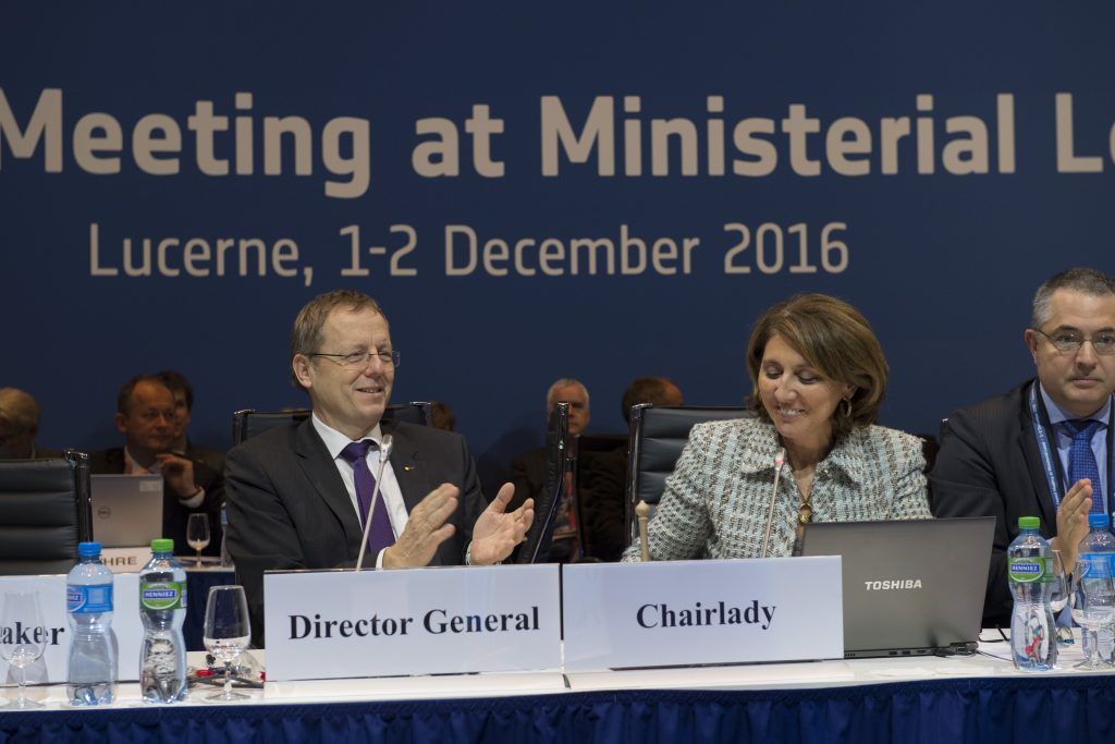 Begoña Cristeto Blasco, Chairlady of ESA's Council at ministerial level in Lucerne, Switzerland, 1-2 December 2016 and Vice Minister for Industry and SMEs, Spain, with ESA Director General Jan Woerner. Credit: ESA, S. Corvaja