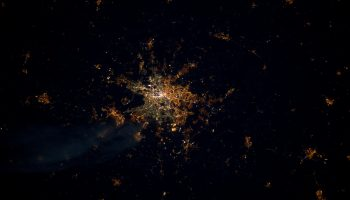 Berlin at Night, photographed by ESA astronaut André Kuipers from the International Space Station (ISS). Image: ESA.