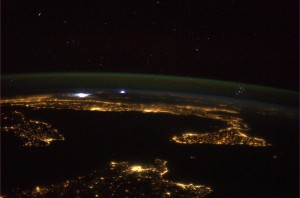 The Mediterranean coastline and an approaching storm. Credits: ESA/NASA