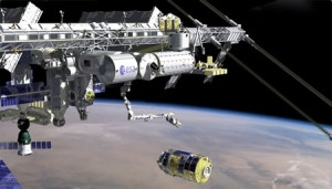 HTV captured by the robotic arm