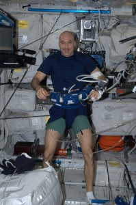 Harnessed and ready for the BP-Reg experiment (for blood pressure) Credits: ESA/NASA