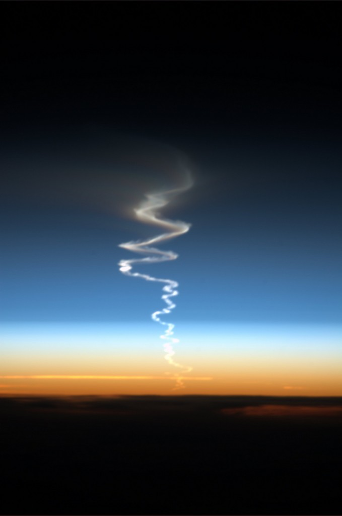 A missile launch seen from space