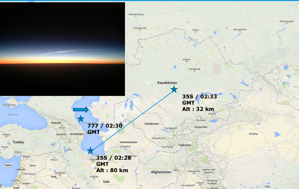 Approximate positions of BA15 and Soyuz TMA-09M