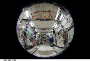 Fisheye view of Columbus Laboratory. Credits: NASA