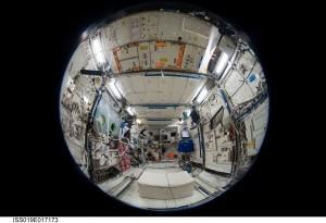 Fisheye view of Columbus Laboratory. Credits: NASA