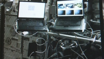 METERON laptops on International Space Station during Supvis-E experiment. Credits: ESA/Col-CC camera