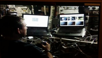 Andreas operates Eurobot in space. Credits: Col-CC cam