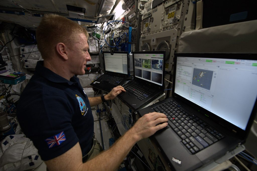 Tim Peake at the rover-control workstation in ESA's Columbus science module on board the ISS. Credit: ESA/NASA