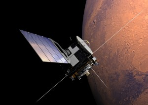 Mars Express orbiting the Red Planet - artist's impression Credit: ESA/Alex Lutkus