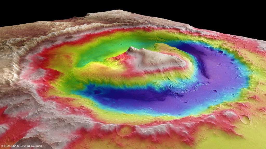 Gale Crater in 3D Credits: ESA/DLR/FU Berlin (G. Neukum)