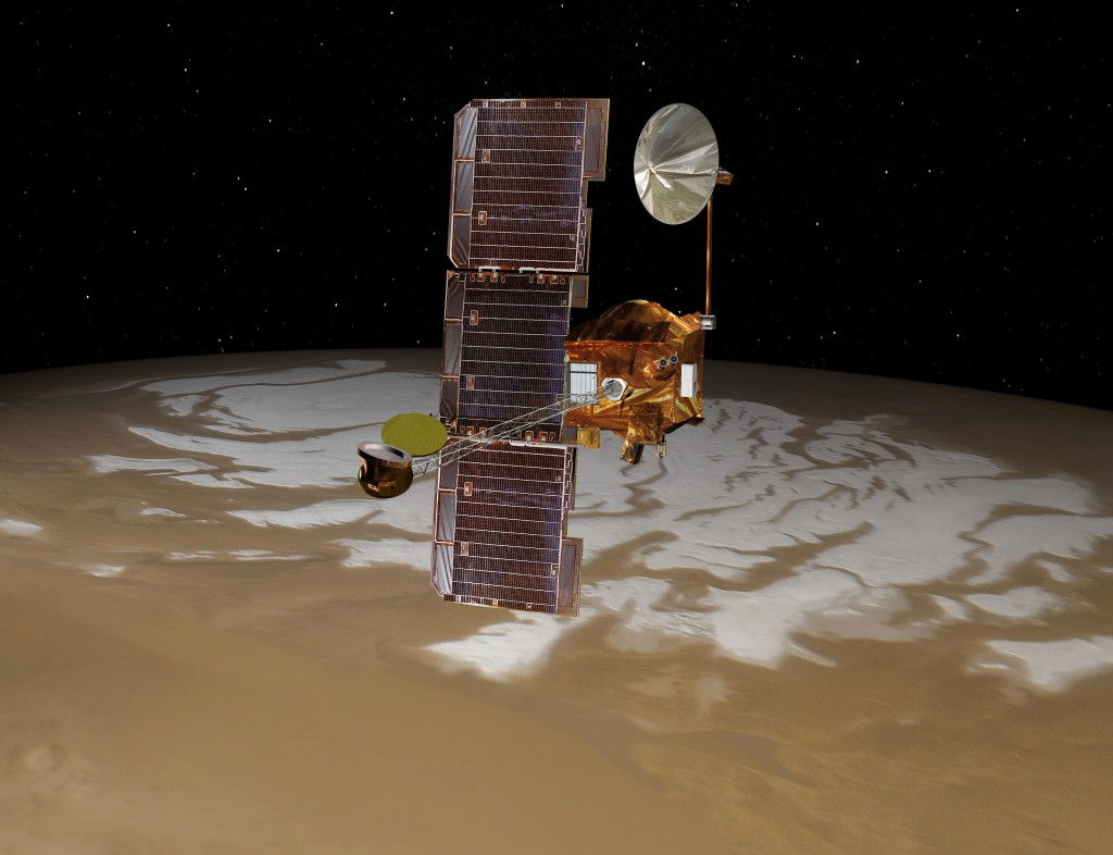 Odyssey over Mars' South Pole: NASA's Mars Odyssey spacecraft passes above Mars' south pole in this artist's concept illustration. The spacecraft has been orbiting Mars since October 24, 2001. Credit: NASA