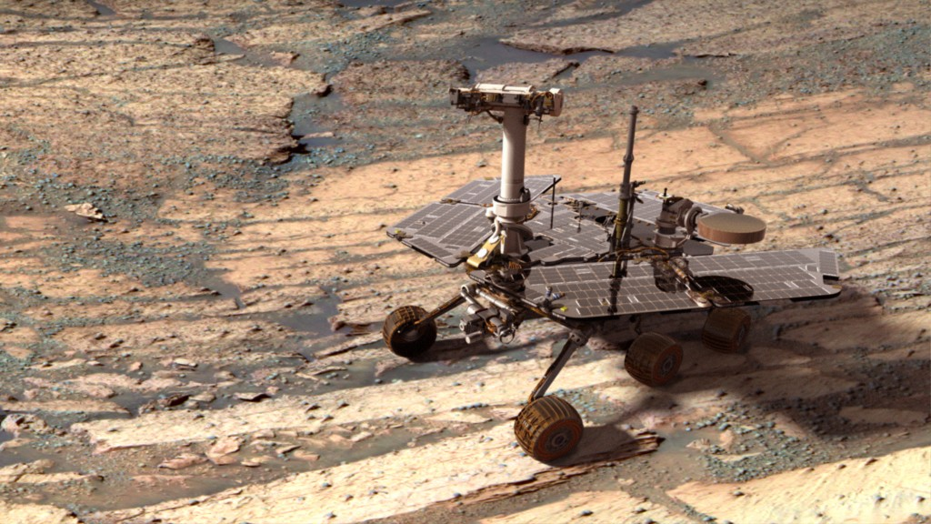 A Digital Opportunity Rover on Mars Credit: Mars Exploration Rover Mission, Cornell, JPL, NASA Rover Model: D. Maas - Synthetic Image: Z. Gorjian, K. Kuramura, M. Stetson, E. De Jong.