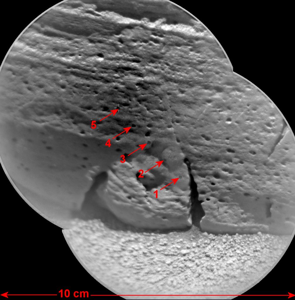 Mosaic: ChemCam laser targets on Rocknest3 Credit: NASA/JPL-Caltech/LANL/CNES/IRAP/LPGN/CNRS