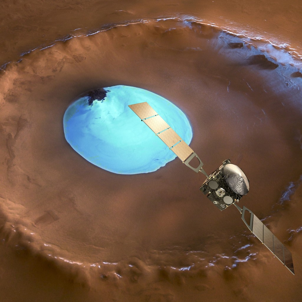Mars Express over water-ice crater Credit: ESA/DLR/FU-Berlin-G.Neukum