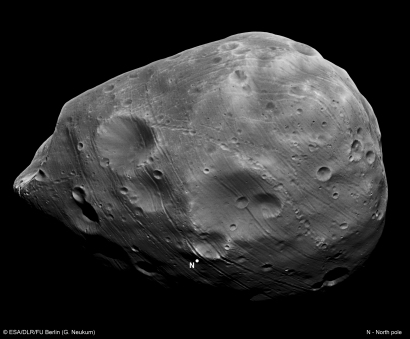 Phobos as seen by the HRSC nadir channel during Mars Express Orbit 7926. Credit: ESA/DLR/FU Berlin (G. Neukum)