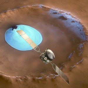 Artist's impression of Mars Express set against a 35 km-wide crater in the Vastitas Borealis region of Mars at approximately 70.5°N / 103°E.