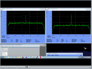 This is a screen shot from a spectrum-analyser display at NASA's 70m DSN station in Madrid (as received at ESOC). The left-hand panel shows the S-band channel and the right-hand shows the X-band channel.