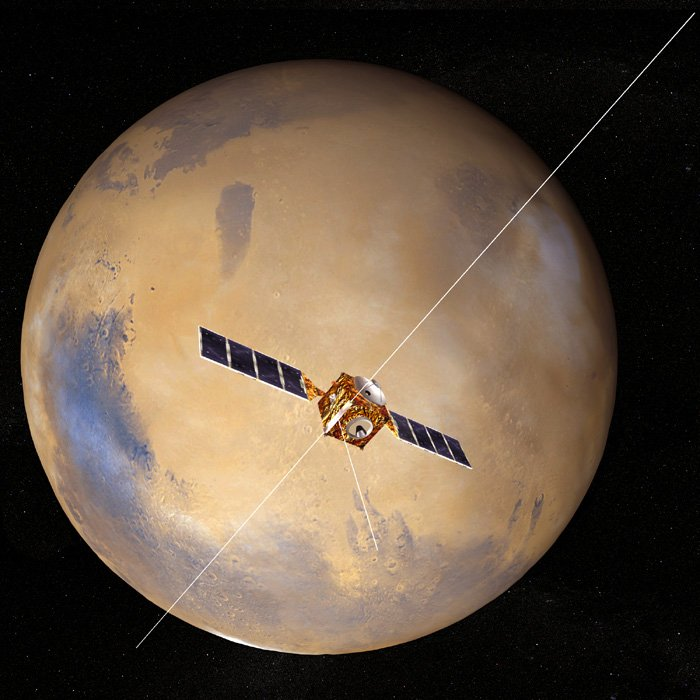 Mars Express in orbit around Mars with the MARSIS antenna unfurled. Credit: ESA
