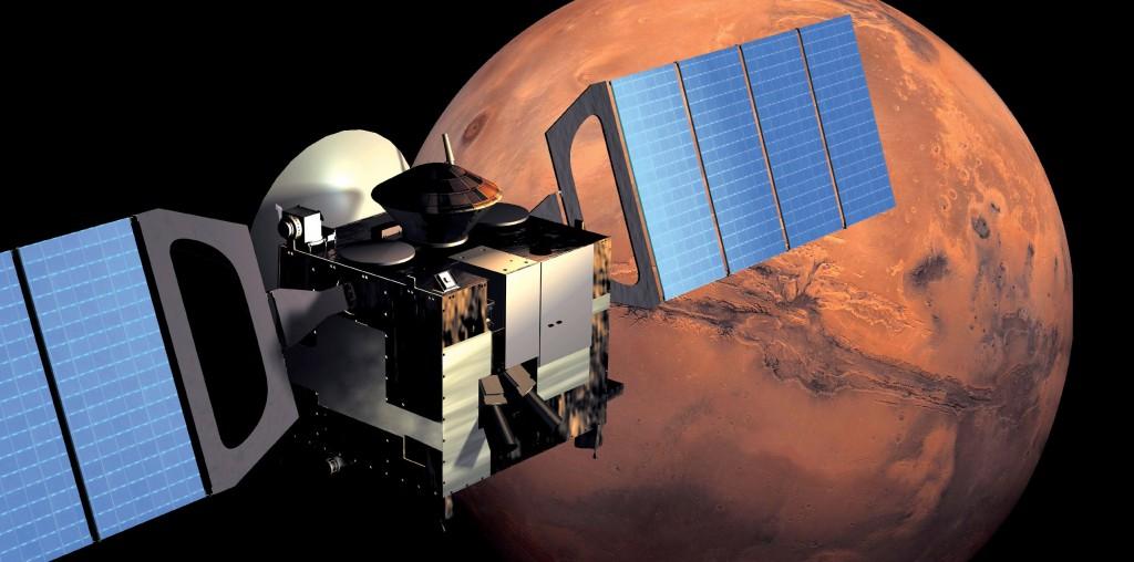 Mars Express in orbit around Mars. Credit: ESA/AOES Medialab