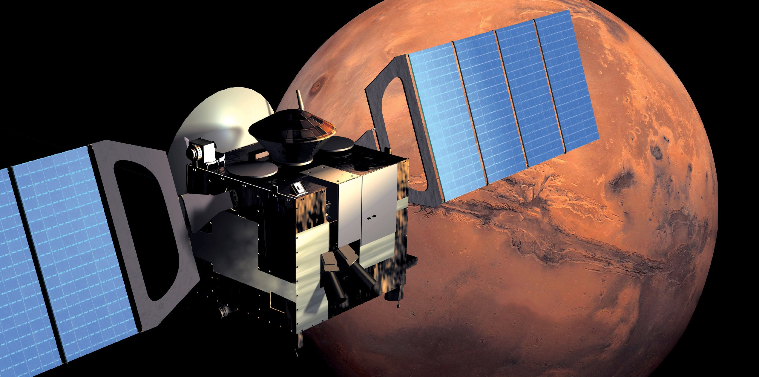 Mars Express in orbit around Mars. Credit: ESA/AOES Medialab