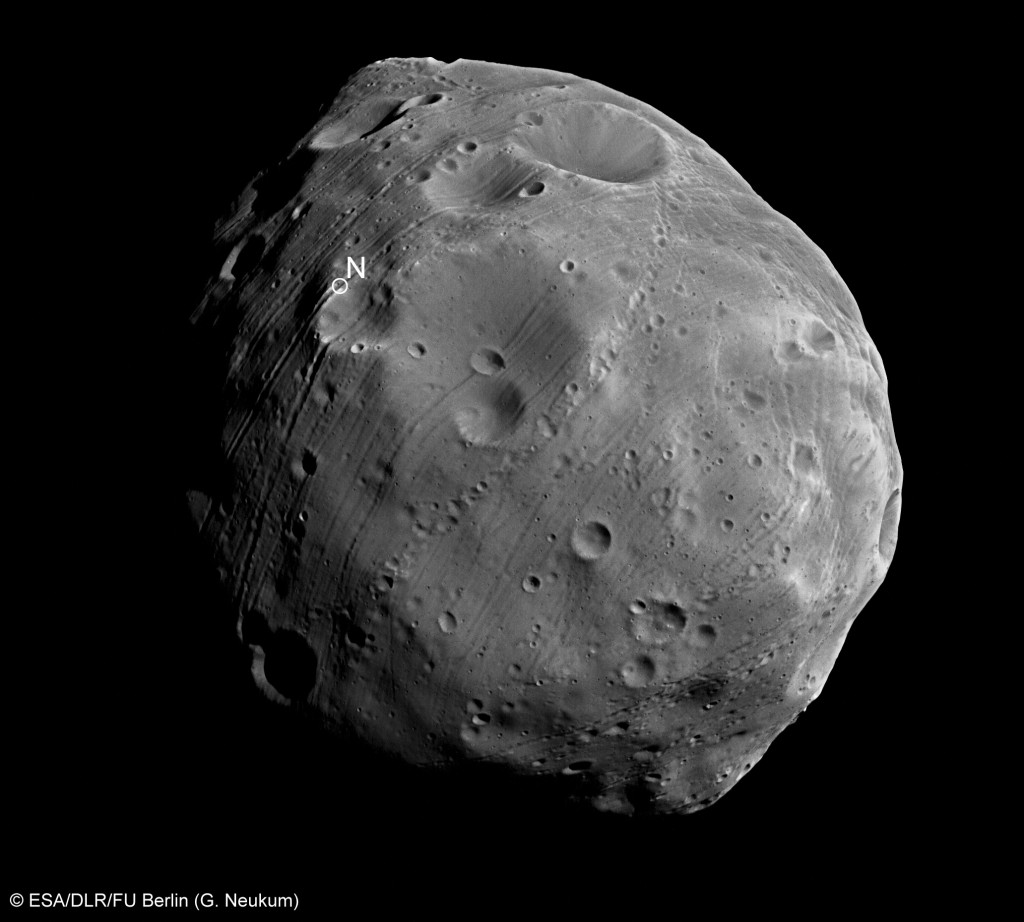 Close-up of Phobos, acquired on 28 July 2008. Credit: ESA/DLR/FU Berlin (G. Neukum)