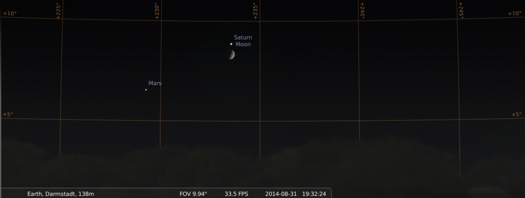 31 August: The Moon joins Saturn and Mars