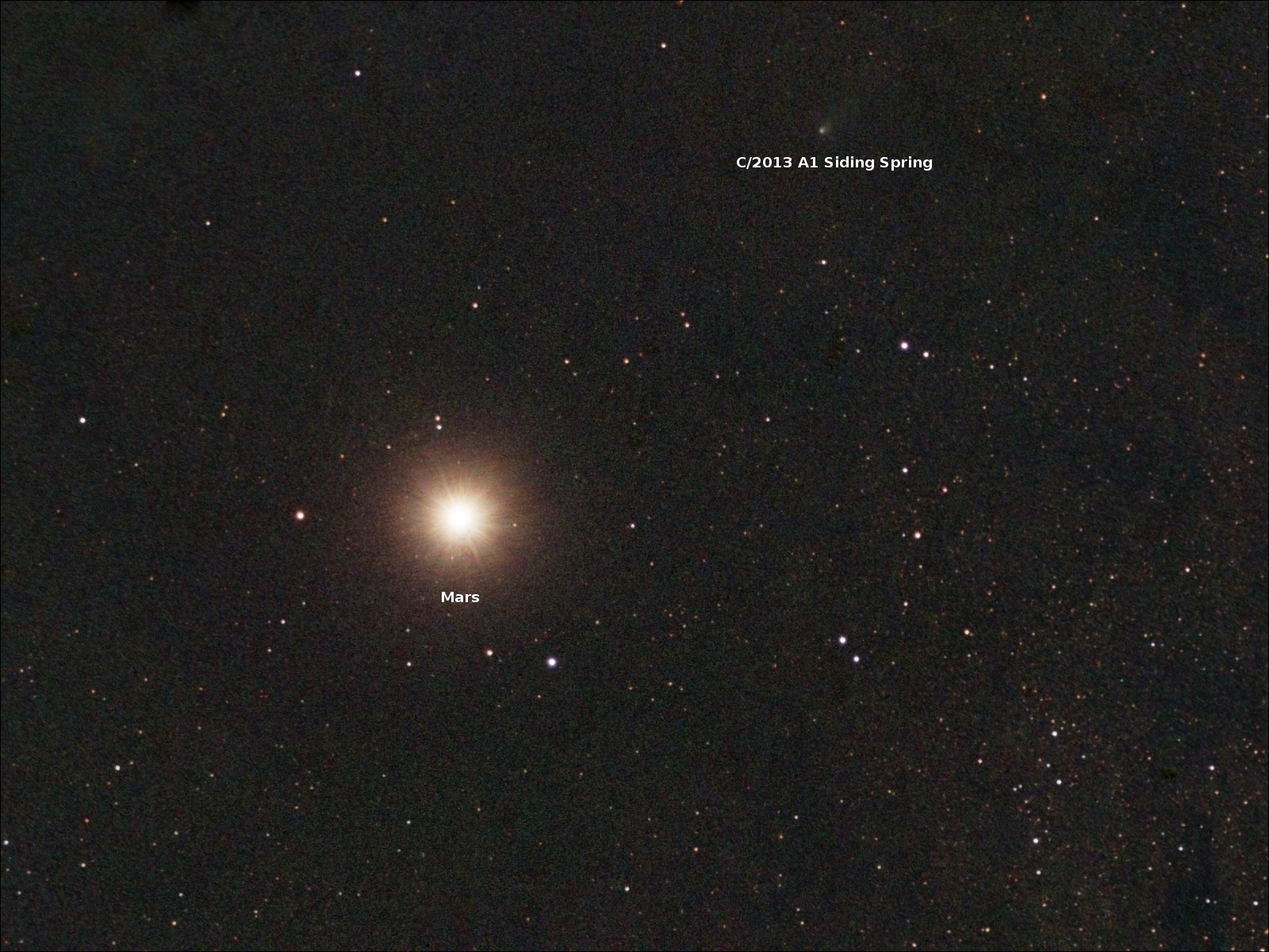 Mars and Siding Spring seen on the day of their closest approach by Scott Ferguson, Florida, USA. Image & live feeds via https://www.facebook.com/groups/cioc.sidingspring/