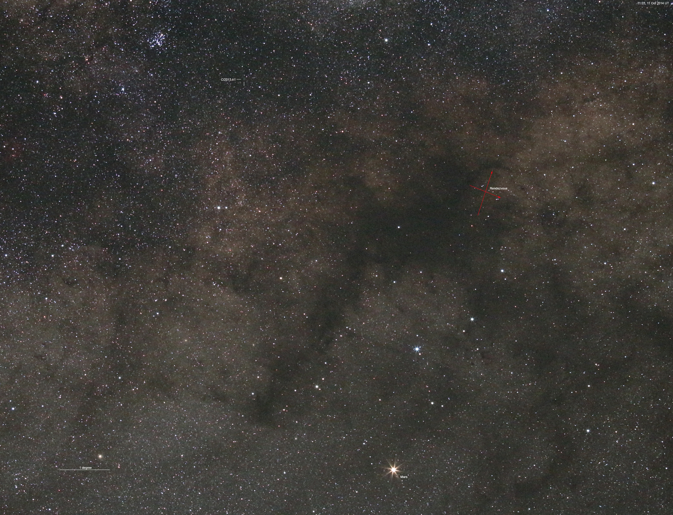 Comet C/2013 A1 Siding Spring and Mars, 11 Oct 2014. Credit: Rob Kaufman