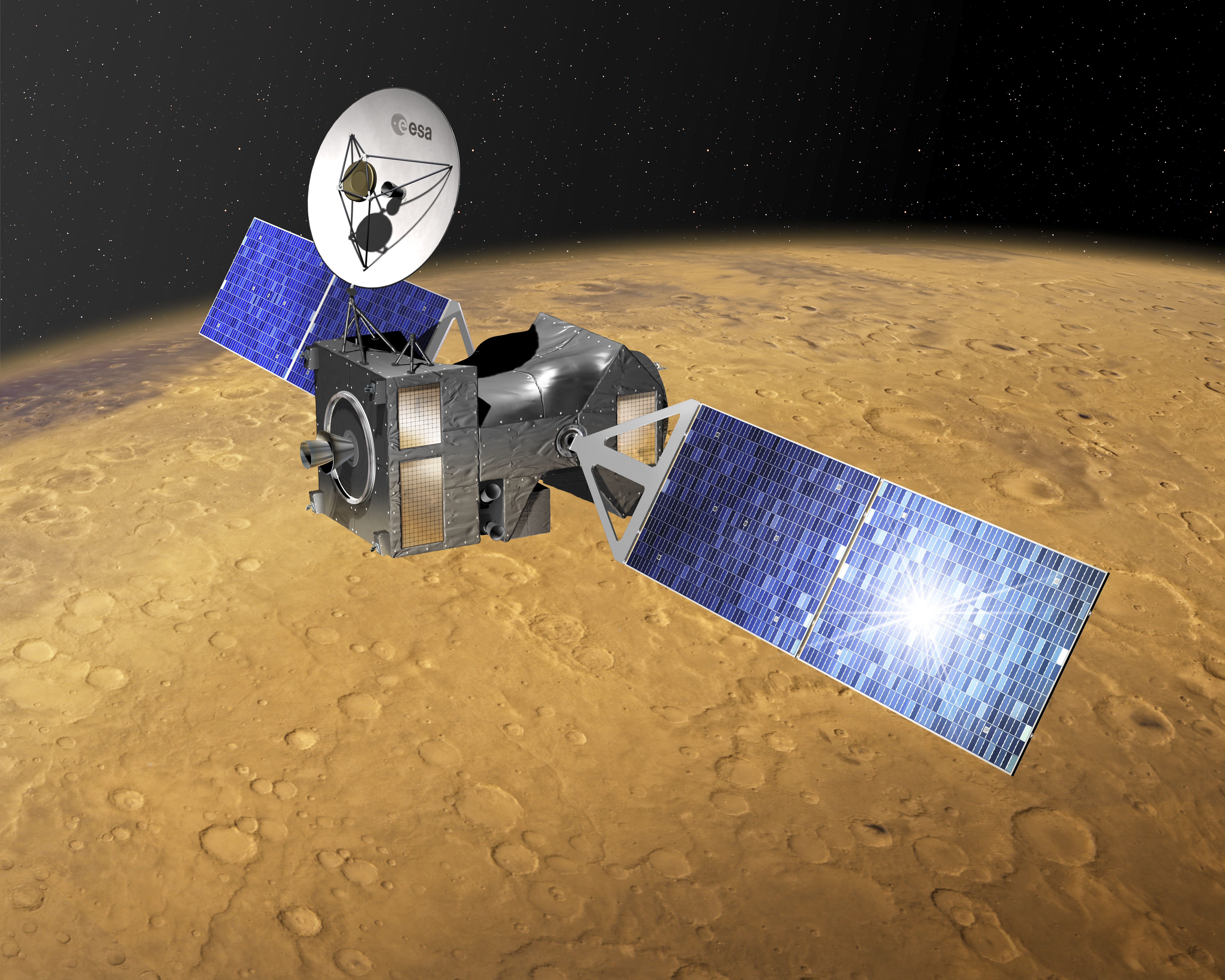 ExoMars Trace Gas Orbiter at Mars. TGO will be launched in 2016 with Schiaparelli, the entry, descent and landing demonstrator module. It will search for evidence of methane and other atmospheric gases that could be signatures of active biological or geological processes on Mars. TGO will also serve as a communications relay for the rover and surface science platform that will be launched in 2018. Credit: ESA–D. Ducros