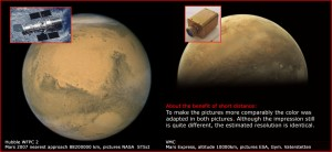 The VMC webcam provides images of Mars having about the same quality as those provided by the ESA/NASA HUbble telescope. Image credit: ESA/Mars Express/VMC/ Humboldt Gymnasium, Vaterstetten