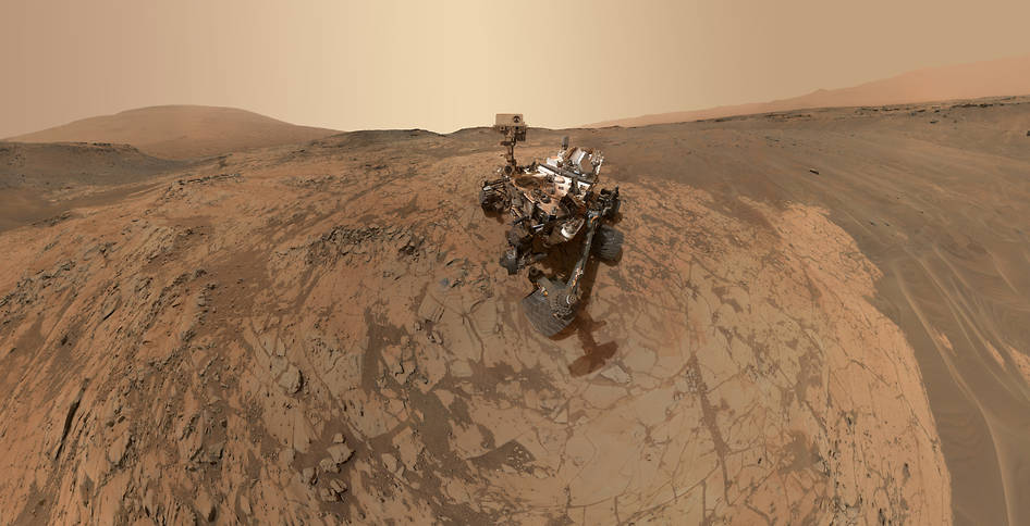 "This self-portrait of NASA's Curiosity Mars rover shows the vehicle at the ""Mojave"" site, where its drill collected the mission's second taste of Mount Sharp. Credit: NASA/JPL-Caltech/MSSS"